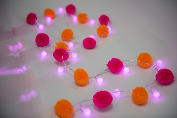 pom pom fairy light chain festival