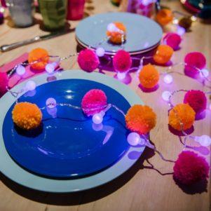 Pom Pom Neon Pink LED fairy lights