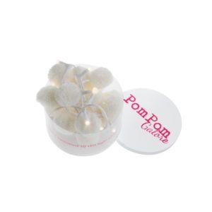 white pom pom LED fairy lights