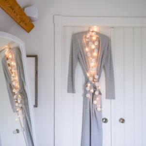 White pom pom fairy lights