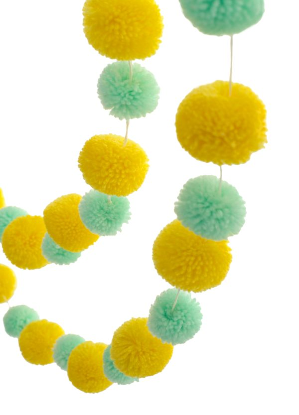 Yellow and Mint Pom Pom Garland 2