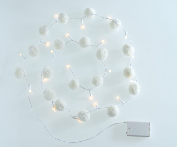 White Pom Pom Fairy Lights 2