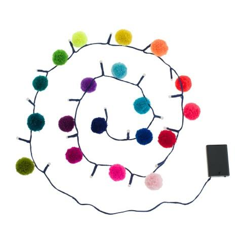 Rainbow Pom Pom Fairy Light Chain 2