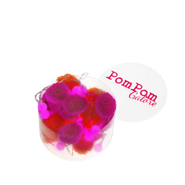 festival orange and pink pom pom LED fairy lights