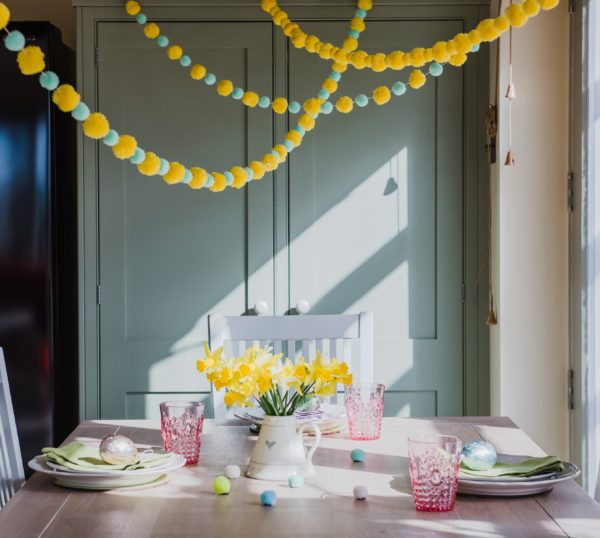 Yellow and Mint Pom Pom Garland 3