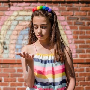 Rainbow PomPom Hair Band