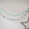 Baby Pink Pom Pom Garland with mint and grey