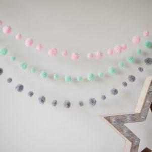 Baby Pink Pom Pom Garland with mint and grey