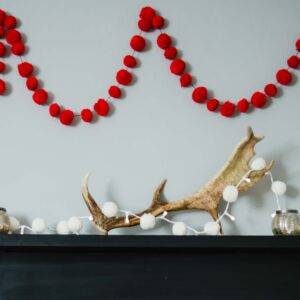 PomPom Galore Red and White Garlands Christmas
