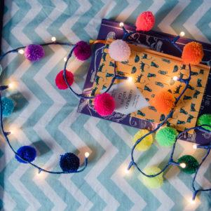 Rainbow pom pom fairy lights from PomPom Galore