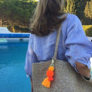 Sunshine Pom pom and tassel key ring bag charm