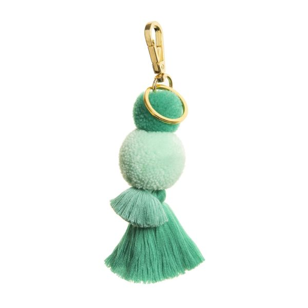 Mint Pom and Tassel Key Ring and Bag Charm
