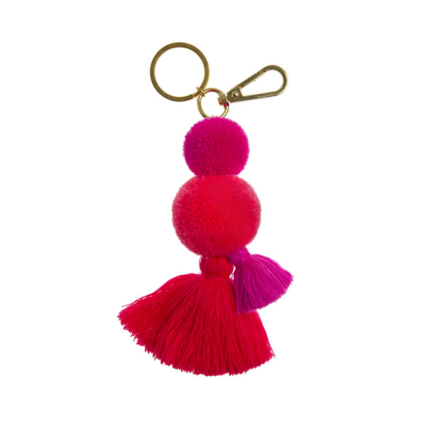 pom pom and tassel key ring clip with flamingo pink pom poms and tassel and gold clip and split ring