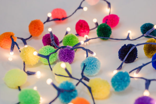Rainbow Pom Pom Light Chain