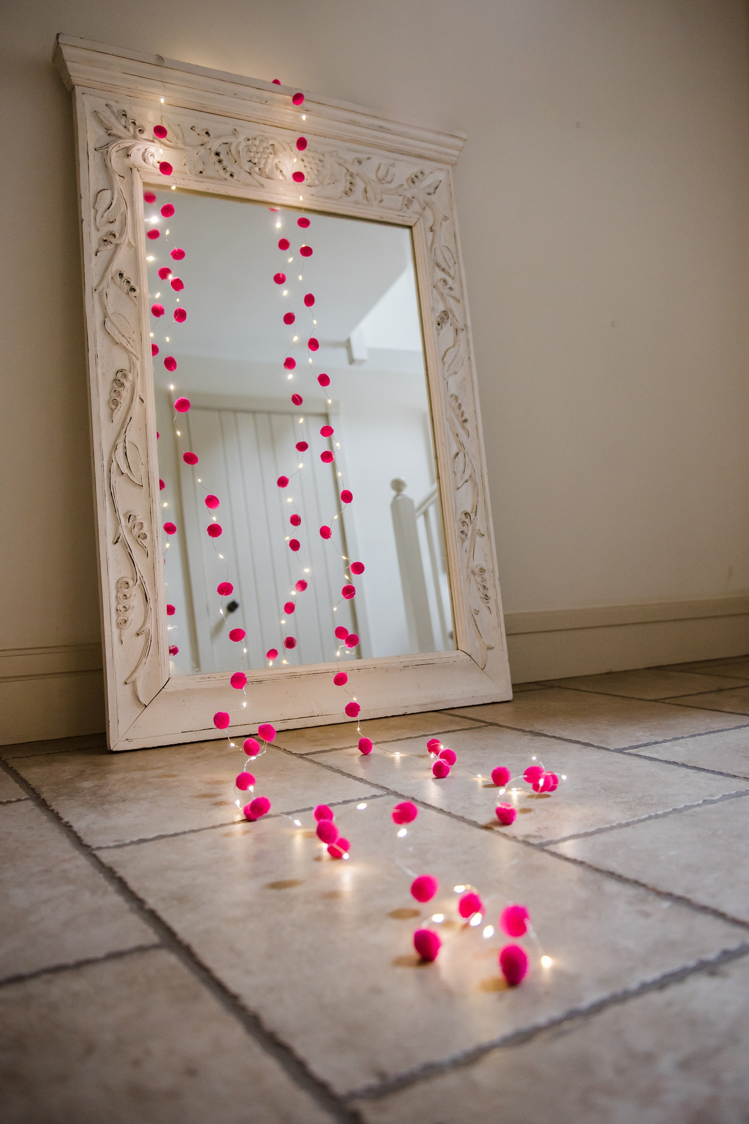 Pink Pom pom galaxy fairy lights 3m long on battery timer boxes