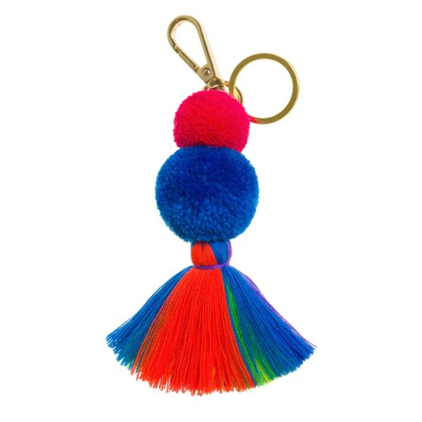 Pom pom and tassel key ring with rainbow tassels