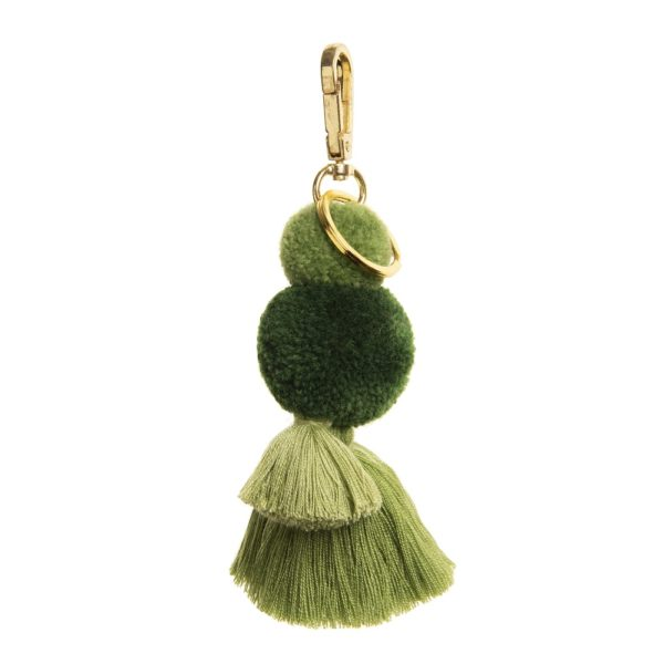 Pom Tassel Key Ring Moss Greens