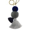 Pom pom and tassel clip and keyring Indigo and grey