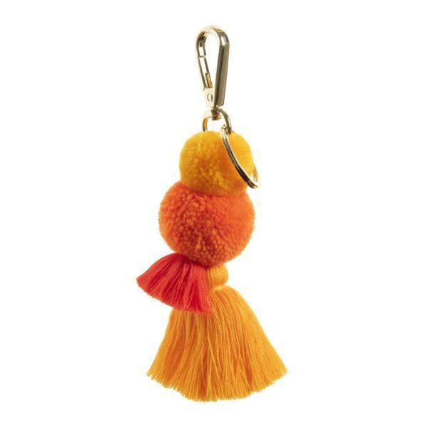 Pom tassel key ring in Sunshine pom poms and tassel yellows and oranges