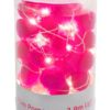 galaxy pom pom fairy lights with white LED pin lights and small pink pom poms