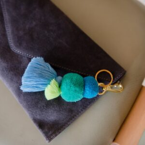Pom Tassel Bag Charm and Key Ring in Sea Blues