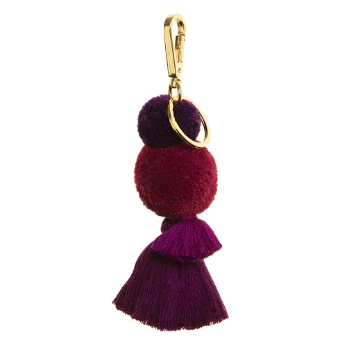 Cassis pom pom and tassel key ring clip
