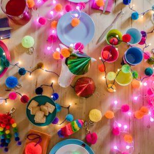 Pom poms by PomPom Galore with Rainbow pom pom fairy light chain
