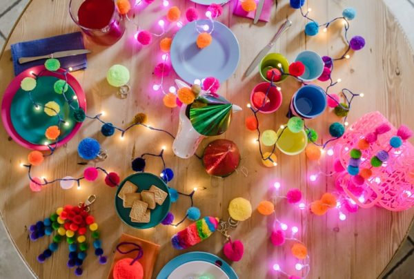 Pom poms by PomPom Galore with Rainbow pom pom fairy light chain