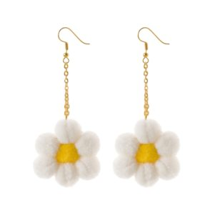 White flower pom pom dangle earrings with fish hooks