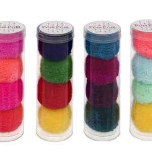 pom pom hair bobble set of 4 in a tube