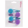 blue and lilac pom pom glitter hair slides