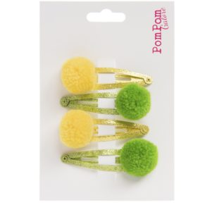 yellow and green pom pom glitter hair slides