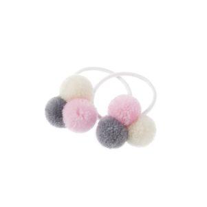 Trio mini pom pom pastel hair bobble