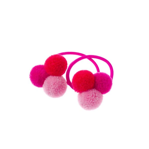 Trio of mini pink pom poms hair bobble