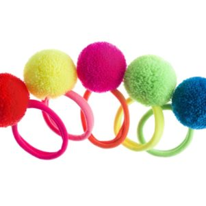 Neon hair elastics with wool yarn pom pom hair bobbles