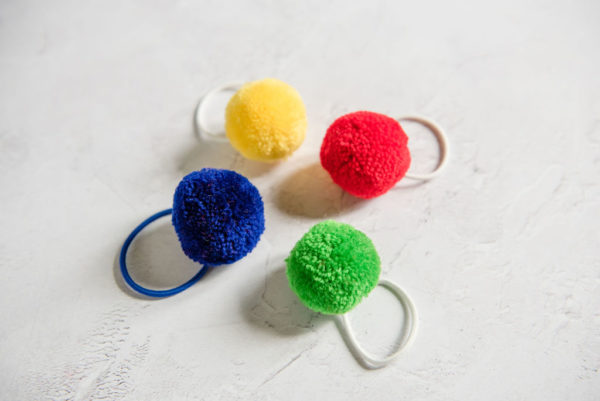 Primary Colours Set of 4 Hair Bobbles in a tube Blue, Yellow Red and green