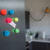 Pom Pom Magnets set of 7 colourful magnets