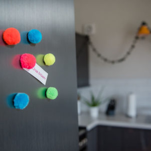 Pom Pom Magnets set of 7 colourful magnets