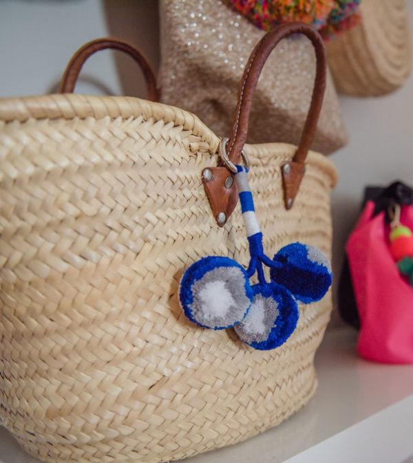 Trio Round Pom Pom Bag Charm on Silver carbina clip
