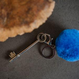 Teal 7cm Pom Pom Keyring PomPom Galore