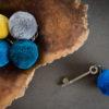 7cm Round pom pm keyrings by PomPom Galore