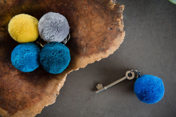 7cm Round pom pm keyrings by PomPom Galore
