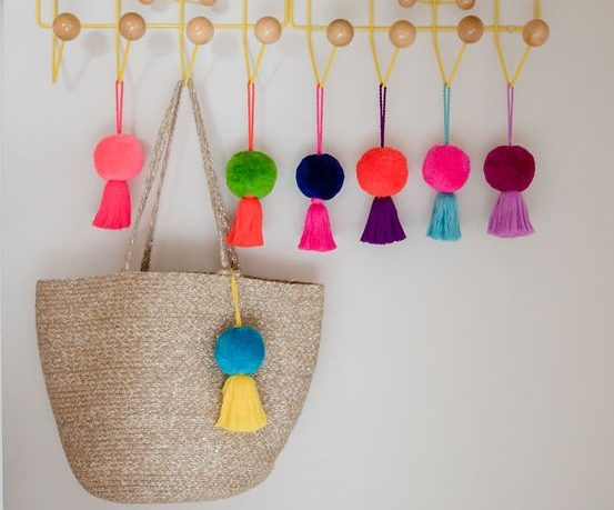 Jumbo Pom Pom and Tassel Bag Swag with Orange pom and purple tassel;