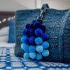 Large Blues Ombre Pom Pom Bag Charm