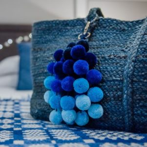 Large Blues Ombre Pom Pom Bag Charm
