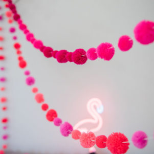 Flamingo Pinks Pom Pom Garland