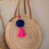 Jumbo Pom Pom and Tassel Swag Indigo Pom Pom and Pink Tassel