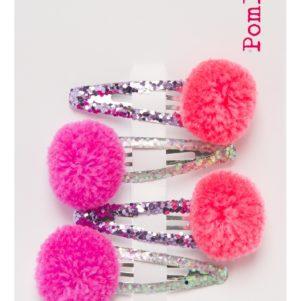 Pom Pom Hair Slides - Shiny Glitter 5