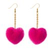 Pink Hearts pom pom earrings dangle