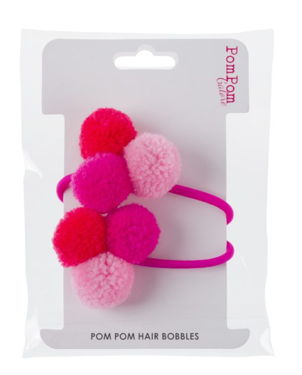 Mini Pom Pom Hair Bobble - Pink Trio